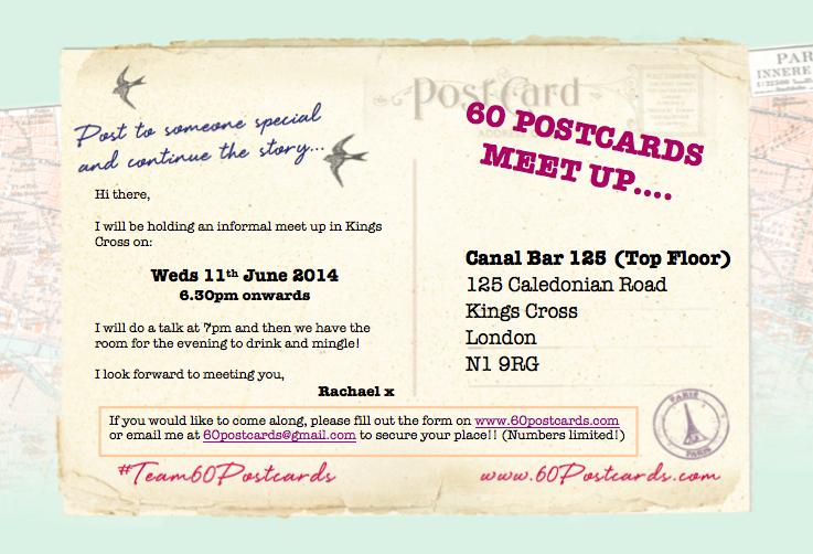 60 Postcards Meet Up Invite